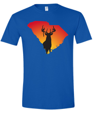 Load image into Gallery viewer, Short Sleeve T-Shirt South Carolina Royal Whitetail Deer Vibrant Design High Quality Tight Knit Ring Spun Low Maintenance Cotton Printed With The Newest Available Color Transfer Technology