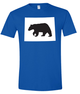Short Sleeve T-Shirt Wyoming Royal Black Bear Vibrant Design High Quality Tight Knit Ring Spun Low Maintenance Cotton Printed With The Newest Available Color Transfer Technology
