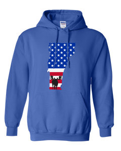 Pullover Hooded Sweatshirt Vermont Royal Moose Vibrant Design High Quality Tight Knit Ring Spun Low Maintenance Cotton Printed With The Newest Available Color Transfer Technology