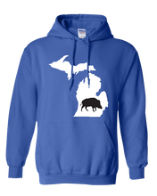 Load image into Gallery viewer, Pullover Hooded Sweatshirt Michigan Royal Wild Hog Vibrant Design High Quality Tight Knit Ring Spun Low Maintenance Cotton Printed With The Newest Available Color Transfer Technology