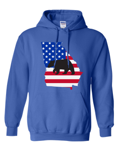 Pullover Hooded Sweatshirt Georgia Royal Black Bear Vibrant Design High Quality Tight Knit Ring Spun Low Maintenance Cotton Printed With The Newest Available Color Transfer Technology