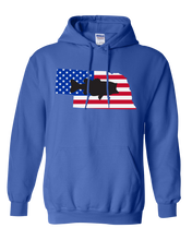 Load image into Gallery viewer, Pullover Hooded Sweatshirt Nebraska Royal Large Mouth Bass Vibrant Design High Quality Tight Knit Ring Spun Low Maintenance Cotton Printed With The Newest Available Color Transfer Technology