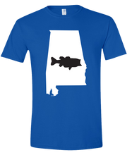 Load image into Gallery viewer, Short Sleeve T-Shirt Alabama Royal Large Mouth Bass Vibrant Design High Quality Tight Knit Ring Spun Low Maintenance Cotton Printed With The Newest Available Color Transfer Technology