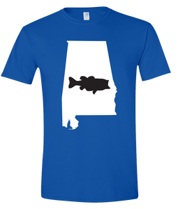 Short Sleeve T-Shirt Alabama Royal Large Mouth Bass Vibrant Design High Quality Tight Knit Ring Spun Low Maintenance Cotton Printed With The Newest Available Color Transfer Technology