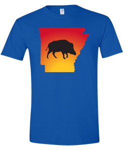 Short Sleeve T-Shirt Arkansas Royal Wild Hog Vibrant Design High Quality Tight Knit Ring Spun Low Maintenance Cotton Printed With The Newest Available Color Transfer Technology