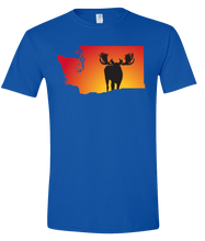 Load image into Gallery viewer, Short Sleeve T-Shirt Washington Royal Moose Vibrant Design High Quality Tight Knit Ring Spun Low Maintenance Cotton Printed With The Newest Available Color Transfer Technology