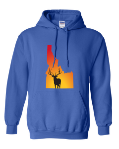 Pullover Hooded Sweatshirt Idaho Royal Elk Vibrant Design High Quality Tight Knit Ring Spun Low Maintenance Cotton Printed With The Newest Available Color Transfer Technology