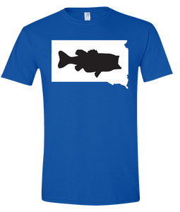 Short Sleeve T-Shirt South Dakota Royal Large Mouth Bass Vibrant Design High Quality Tight Knit Ring Spun Low Maintenance Cotton Printed With The Newest Available Color Transfer Technology