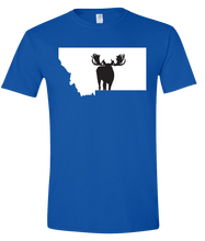 Load image into Gallery viewer, Short Sleeve T-Shirt Montana Royal Moose Vibrant Design High Quality Tight Knit Ring Spun Low Maintenance Cotton Printed With The Newest Available Color Transfer Technology
