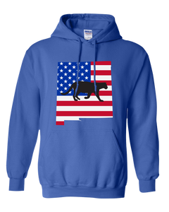 Pullover Hooded Sweatshirt New Mexico Royal Mountain Lion Vibrant Design High Quality Tight Knit Ring Spun Low Maintenance Cotton Printed With The Newest Available Color Transfer Technology