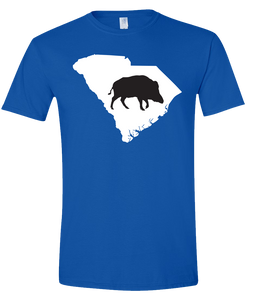 Short Sleeve T-Shirt South Carolina Royal Wild Hog Vibrant Design High Quality Tight Knit Ring Spun Low Maintenance Cotton Printed With The Newest Available Color Transfer Technology