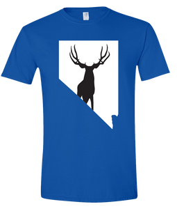 Short Sleeve T-Shirt Nevada Royal Mule Deer Vibrant Design High Quality Tight Knit Ring Spun Low Maintenance Cotton Printed With The Newest Available Color Transfer Technology