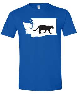 Short Sleeve T-Shirt Washington Royal Mountain Lion Vibrant Design High Quality Tight Knit Ring Spun Low Maintenance Cotton Printed With The Newest Available Color Transfer Technology