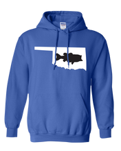 Load image into Gallery viewer, Pullover Hooded Sweatshirt Oklahoma Royal Large Mouth Bass Vibrant Design High Quality Tight Knit Ring Spun Low Maintenance Cotton Printed With The Newest Available Color Transfer Technology