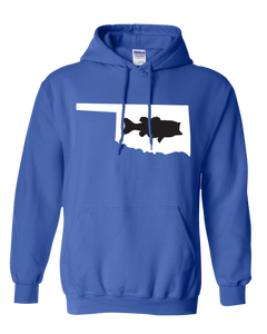 Pullover Hooded Sweatshirt Oklahoma Royal Large Mouth Bass Vibrant Design High Quality Tight Knit Ring Spun Low Maintenance Cotton Printed With The Newest Available Color Transfer Technology