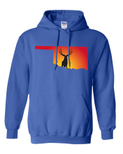 Load image into Gallery viewer, Pullover Hooded Sweatshirt Oklahoma Royal Mule Deer Vibrant Design High Quality Tight Knit Ring Spun Low Maintenance Cotton Printed With The Newest Available Color Transfer Technology