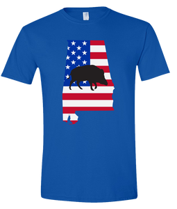 Short Sleeve T-Shirt Alabama Royal Wild Hog Vibrant Design High Quality Tight Knit Ring Spun Low Maintenance Cotton Printed With The Newest Available Color Transfer Technology