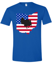 Load image into Gallery viewer, Short Sleeve T-Shirt Ohio Royal Turkey Vibrant Design High Quality Tight Knit Ring Spun Low Maintenance Cotton Printed With The Newest Available Color Transfer Technology