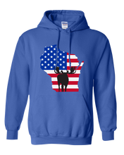 Load image into Gallery viewer, Pullover Hooded Sweatshirt Wisconsin Royal Moose Vibrant Design High Quality Tight Knit Ring Spun Low Maintenance Cotton Printed With The Newest Available Color Transfer Technology