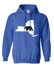 Load image into Gallery viewer, Pullover Hooded Sweatshirt New York Royal Black Bear Vibrant Design High Quality Tight Knit Ring Spun Low Maintenance Cotton Printed With The Newest Available Color Transfer Technology