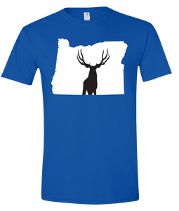 Short Sleeve T-Shirt Oregon Royal Mule Deer Vibrant Design High Quality Tight Knit Ring Spun Low Maintenance Cotton Printed With The Newest Available Color Transfer Technology