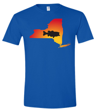 Load image into Gallery viewer, Short Sleeve T-Shirt New York Royal Large Mouth Bass Vibrant Design High Quality Tight Knit Ring Spun Low Maintenance Cotton Printed With The Newest Available Color Transfer Technology