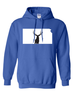 Pullover Hooded Sweatshirt Kansas Royal Mule Deer Vibrant Design High Quality Tight Knit Ring Spun Low Maintenance Cotton Printed With The Newest Available Color Transfer Technology