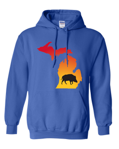 Pullover Hooded Sweatshirt Michigan Royal Wild Hog Vibrant Design High Quality Tight Knit Ring Spun Low Maintenance Cotton Printed With The Newest Available Color Transfer Technology