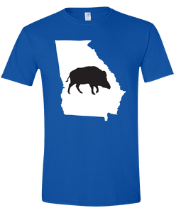 Short Sleeve T-Shirt Georgia Royal Wild Hog Vibrant Design High Quality Tight Knit Ring Spun Low Maintenance Cotton Printed With The Newest Available Color Transfer Technology