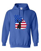 Load image into Gallery viewer, Pullover Hooded Sweatshirt Georgia Royal Whitetail Deer Vibrant Design High Quality Tight Knit Ring Spun Low Maintenance Cotton Printed With The Newest Available Color Transfer Technology
