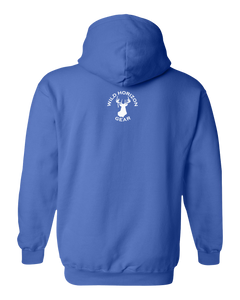 Pullover Hooded Sweatshirt Wyoming Royal Elk Vibrant Design High Quality Tight Knit Ring Spun Low Maintenance Cotton Printed With The Newest Available Color Transfer Technology