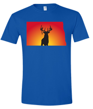 Load image into Gallery viewer, Short Sleeve T-Shirt North Dakota Royal Whitetail Deer Vibrant Design High Quality Tight Knit Ring Spun Low Maintenance Cotton Printed With The Newest Available Color Transfer Technology
