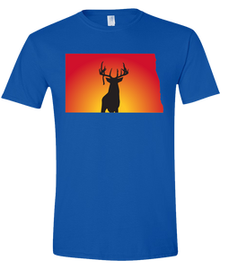Short Sleeve T-Shirt North Dakota Royal Whitetail Deer Vibrant Design High Quality Tight Knit Ring Spun Low Maintenance Cotton Printed With The Newest Available Color Transfer Technology