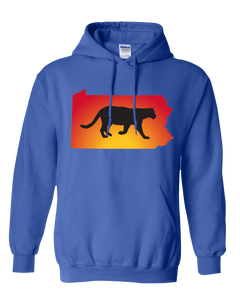 Pullover Hooded Sweatshirt Pennsylvania Royal Mountain Lion Vibrant Design High Quality Tight Knit Ring Spun Low Maintenance Cotton Printed With The Newest Available Color Transfer Technology