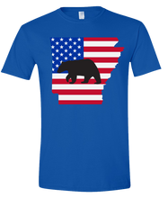 Load image into Gallery viewer, Short Sleeve T-Shirt Arkansas Royal Black Bear Vibrant Design High Quality Tight Knit Ring Spun Low Maintenance Cotton Printed With The Newest Available Color Transfer Technology