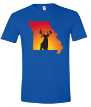 Load image into Gallery viewer, Short Sleeve T-Shirt Missouri Royal Whitetail Deer Vibrant Design High Quality Tight Knit Ring Spun Low Maintenance Cotton Printed With The Newest Available Color Transfer Technology