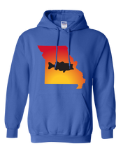 Load image into Gallery viewer, Pullover Hooded Sweatshirt Missouri Royal Large Mouth Bass Vibrant Design High Quality Tight Knit Ring Spun Low Maintenance Cotton Printed With The Newest Available Color Transfer Technology
