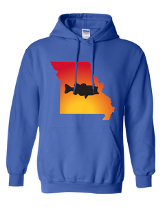 Pullover Hooded Sweatshirt Missouri Royal Large Mouth Bass Vibrant Design High Quality Tight Knit Ring Spun Low Maintenance Cotton Printed With The Newest Available Color Transfer Technology