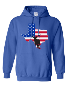 Pullover Hooded Sweatshirt Texas Royal Elk Vibrant Design High Quality Tight Knit Ring Spun Low Maintenance Cotton Printed With The Newest Available Color Transfer Technology