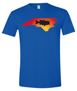 Short Sleeve T-Shirt North Carolina Royal Large Mouth Bass Vibrant Design High Quality Tight Knit Ring Spun Low Maintenance Cotton Printed With The Newest Available Color Transfer Technology