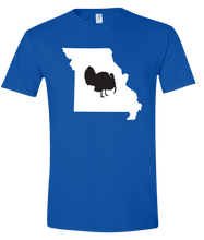Load image into Gallery viewer, Short Sleeve T-Shirt Missouri Royal Turkey Vibrant Design High Quality Tight Knit Ring Spun Low Maintenance Cotton Printed With The Newest Available Color Transfer Technology