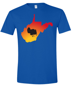 Short Sleeve T-Shirt West Virginia Royal Turkey Vibrant Design High Quality Tight Knit Ring Spun Low Maintenance Cotton Printed With The Newest Available Color Transfer Technology