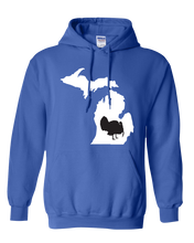 Load image into Gallery viewer, Pullover Hooded Sweatshirt Michigan Royal Turkey Vibrant Design High Quality Tight Knit Ring Spun Low Maintenance Cotton Printed With The Newest Available Color Transfer Technology
