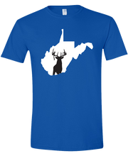 Load image into Gallery viewer, Short Sleeve T-Shirt West Virginia Royal Whitetail Deer Vibrant Design High Quality Tight Knit Ring Spun Low Maintenance Cotton Printed With The Newest Available Color Transfer Technology