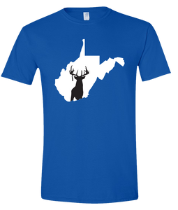 Short Sleeve T-Shirt West Virginia Royal Whitetail Deer Vibrant Design High Quality Tight Knit Ring Spun Low Maintenance Cotton Printed With The Newest Available Color Transfer Technology