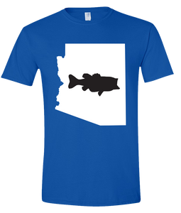 Short Sleeve T-Shirt Arizona Royal Large Mouth Bass Vibrant Design High Quality Tight Knit Ring Spun Low Maintenance Cotton Printed With The Newest Available Color Transfer Technology