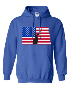 Pullover Hooded Sweatshirt North Dakota Royal Mule Deer Vibrant Design High Quality Tight Knit Ring Spun Low Maintenance Cotton Printed With The Newest Available Color Transfer Technology
