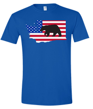 Load image into Gallery viewer, Short Sleeve T-Shirt Washington Royal Black Bear Vibrant Design High Quality Tight Knit Ring Spun Low Maintenance Cotton Printed With The Newest Available Color Transfer Technology