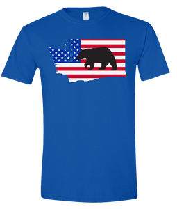 Short Sleeve T-Shirt Washington Royal Black Bear Vibrant Design High Quality Tight Knit Ring Spun Low Maintenance Cotton Printed With The Newest Available Color Transfer Technology