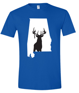 Short Sleeve T-Shirt Alabama Royal Whitetail Deer Vibrant Design High Quality Tight Knit Ring Spun Low Maintenance Cotton Printed With The Newest Available Color Transfer Technology